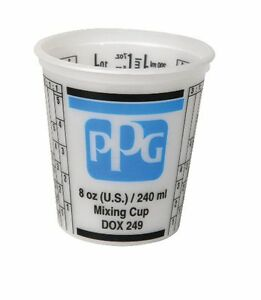 Ppg Dox 249 8oz Auto Car Paint Mixing Cup With Lids Qty 100 Ea