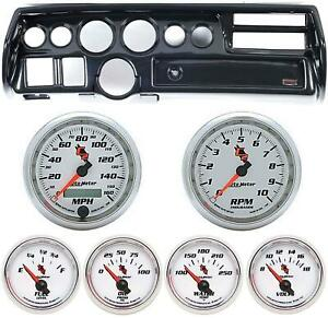 70 72 Chevelle Sweep Carbon Dash Carrier W Auto Meter C2 Gauge Gauges
