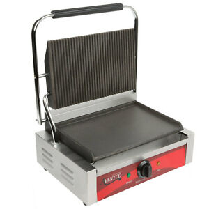 New Avantco Commercial Panini Sandwich Grill Press Kitchen Equipment Restaurant