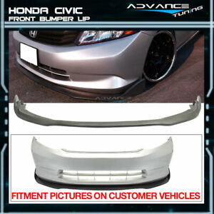 Fits 12 Honda Civic Only Sedan 4dr Cs2 Style Black Pu Front Bumper Lip Spoiler