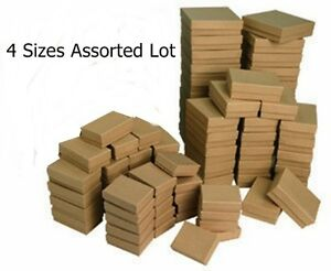 4 Sizes 100 Assorted Kraft Cotton Filled Jewelry Packaging Gift Boxes