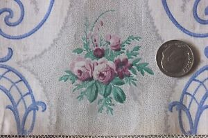 Exquisite Tiny Doll Scale Rose Antique French Chintz Sample Fabric C1864