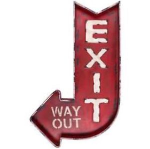 Exit Way Out Huge Metal Wall Signs Retro Movie Theater Industrial New