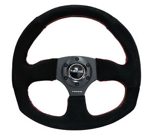 Nrg 320mm Racing Sport Steering Wheel Black Suede Red Stitch
