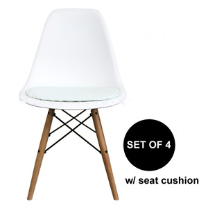 Set Of 4 Mid Century Modern White Pad Dsw Side Dining Chair Wood Eames Esque