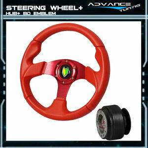 Red Pvc Leather 6 Bolts Horn Button 320mm Sports Steering Wheel Hub Adapter
