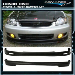 For 99 00 Honda Civic Ek Ek9 3dr Mugen Front Rear Bumper Lip Spoiler Pp