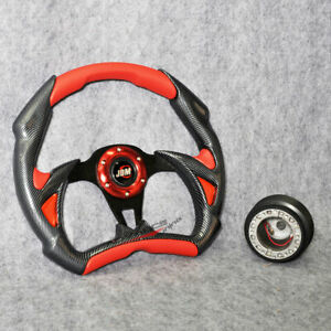 320mm Red Pvc Leather Carbon Fiber Steering Wheel Hub Adapter Jdm Battle Type