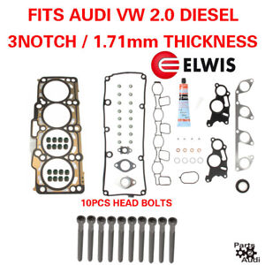 Oe Cylinder Head Gasket Set With Bolts Vw Diesel 2 0 3 Notch