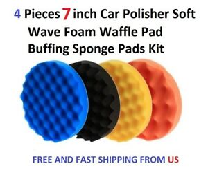 4 Pieces 7inch Car Polisher Soft Wave Foam Waffle Pad Buffing Sponge Pads Kit