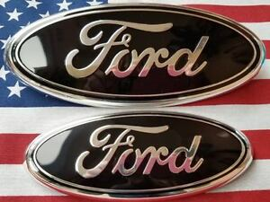 2004 2014 Ford F150 Emblem Gloss Black 9 Inch Grille 7 Inch Grille Set