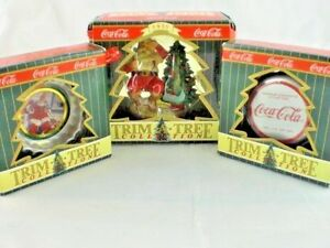 Coca Cola Trim A Tree Collection Lot of 3 Santa & Bottle Cap Coke Ornaments NIB