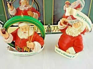 Coca Cola Trim A Tree Collection Double Santa Ornaments w Box Coke 1990 NEW NIB