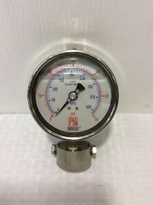 Wika Pressure Gauge 4 Face 0 60 Psi Glycerin Filled Stainless