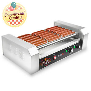 Commercial Electric 18 Hot Dog 7 Roller Grill Cooker Machine 900 watt