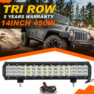 Tri Row 7d 14 Inch 450w Cree Led Work Light Bar Spot Flood Offroad Jeep 4x4wd