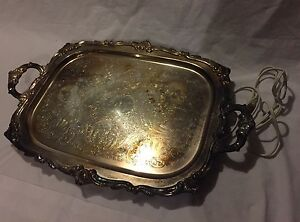 Antique Eton Guarantee Silverplate Silver Serving Platter With Warmer W Cord