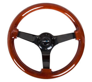 Nrg Steering Wheel Classic Wood Grain 350mm W Black Chrome Spoke 3 Deep Dish