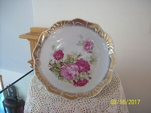 Three Crown China Antique Porcelain China Pink Wine Colored Rose Design