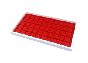 4 White Jewelry Tray Hobby Ring Trays Parts Tray Charm Tray 50 Space Red Liners