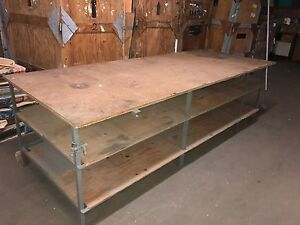 Work Table With 2 Underneath Shelves Approx 4 X 10 Long Good Shop Work Bench
