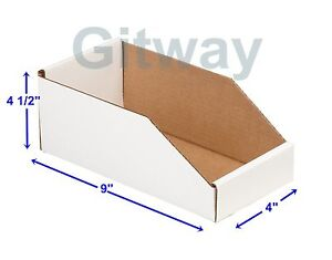 50 4 X 9 X 4 1 2 Corrugated Cardboard Open Top Storage Parts Bin Bins Boxes