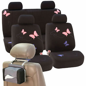 Car Seat Covers Premium Butterfly Black For Girl Free Gift Tissue Dispenser