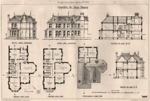Competition for house planning . Architecture 1872 old antique print picture GBP 8.99