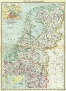 Netherlands Maps Of Amsterdam Dutch Possessions 1907 Old Antique Chart