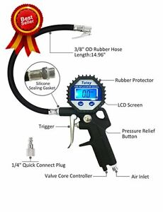 Digital Tire Inflator And Pressure Gauge Straight Lock On Air Chuck 150 Psi New