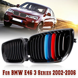 For Bmw 3series E46 4dr 02 06 M color Front Hood Kidney Grille Grill Gloss Black