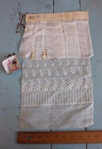 French Antique White Embroidery On Fine Cotton Fabric Sample C1920s Dolls Design