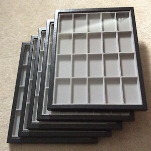1 Box of 5 12 X 16 X 3 4 Display Cases riker Type With Gray Dividers