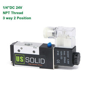 U s Solid 1 4 Pneumatic Electric Solenoid Valve 3 Way 2 Position Dc 24v Air