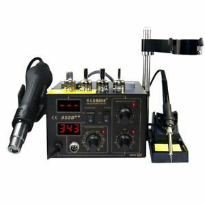 220v Saike 852d Solder Soldering Iron Hot Air Rework Station Smd 2 In 1