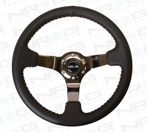 Nrg Deep Dish Steering Wheel 350mm Black Leather With Red Stitch