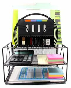 Easypag Mesh Desk Organizer 2 Tier Letter Tray With 5 Stacking Sorter Sections