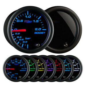 Glowshift Tinted 7 Color 2 Bar Led Turbo Boost Vacuum Gauge 52mm Gs T701 Bar