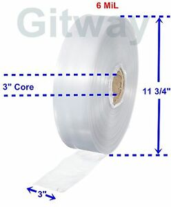 3 X 725 Clear Poly Tubing Tube Plastic Bag Polybags Custom Bags On A Roll 6ml