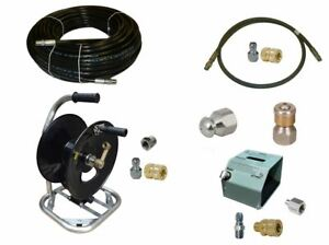 Sewer Jetter Cleaner Kit Hd Foot Valve 150 X 1 4 Hose Reel And Nozzles