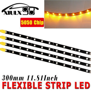 4x 12 Amber Yellow Car Motorcycle Flexible Led Strip Light 5050 Smd Waterproof