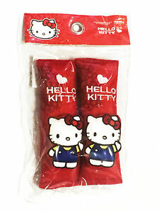 Hello Kitty Sanrio Car Accessory 2 Pieces Seat Belt Covers Shoulder Pads red