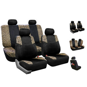 Car Seat Covers Leopard Print Velour S Airbag Split