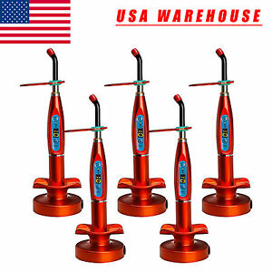 5pcs Dental Wireless Cordless Led Curing Light Cure Lamp Dentist Orange