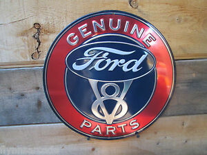 Ford V8 Genuine Parts Embossed Metal Display Auto Shop Deluxe Standard Hot Rod Fits Ford Prefect