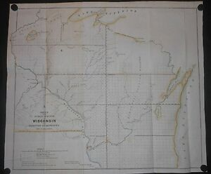 Wisconsin Minnesota Territory 1851 Map Hand Color Indian Tribes Oneida Forts