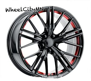 20 X9 20x8 Staggered Gloss Black 2013 Chevy Camaro Zl1 Oe Replica Wheels 5x120