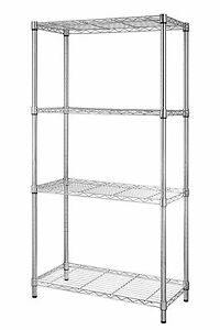 4 Tier Shelf Adjustable Steel Metal Wire Shelving Storage Rack 1400 Lbs Chrome