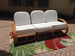 Vintage Rattan Sofa With New Cushions