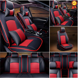 Us Pu Leather Seat Covers For Ford F 150 2010 2016 Front rear pillows Black red